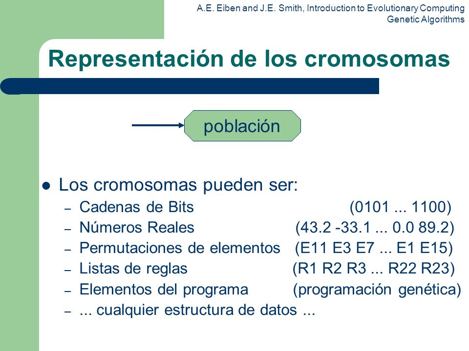 A.E. Eiben and J.E. Smith, Introduction to Evolutionary Computing Genetic Algorithms Representación de los cromosomas Los cromosomas pueden ser: – Cad