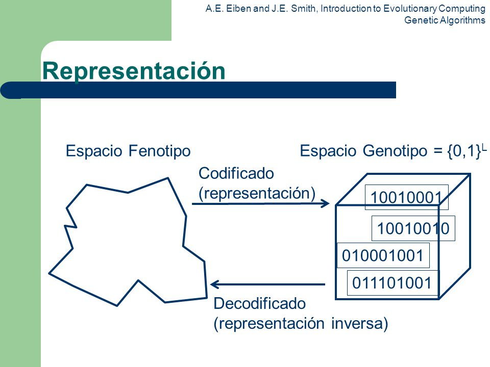 A.E. Eiben and J.E. Smith, Introduction to Evolutionary Computing Genetic Algorithms Espacio Genotipo = {0,1} L Espacio Fenotipo Codificado (represent