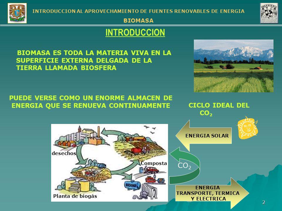 INTRODUCCION AL APROVECHAMIENTO DE FUENTES RENOVABLES DE ENERGIA BIOMASA 3 TOTALES MUNDIALES DE BIOMASA (millones de toneladas métricas) Total Masa de Materia Viva incluyendo Humedad 2,000 Total en Plantas de tierra 1,800 Total en Bosques 1,600 POBLACION MUNDIAL 5, 500 MILLONES 400 TON / PERSONA BIOMASA TERRESTRE PER CAPITA