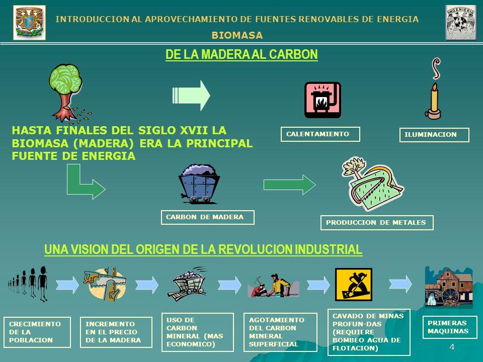 INTRODUCCION AL APROVECHAMIENTO DE FUENTES RENOVABLES DE ENERGIA BIOMASA 5 LA BIOMASA COMO COMBUSTIBLE OXIDACION RAPIDA DE UN MATERIAL EN EL OXIGENO DEL AIRE CON DESPRENDIMIENTO DE LUZ Y CALOR COMBUSTION BIOMASA Celulosa Azúcares (Carbohidratos) Almidones Proteínas Ejemplo: Metano Combustión de Carbohidratos