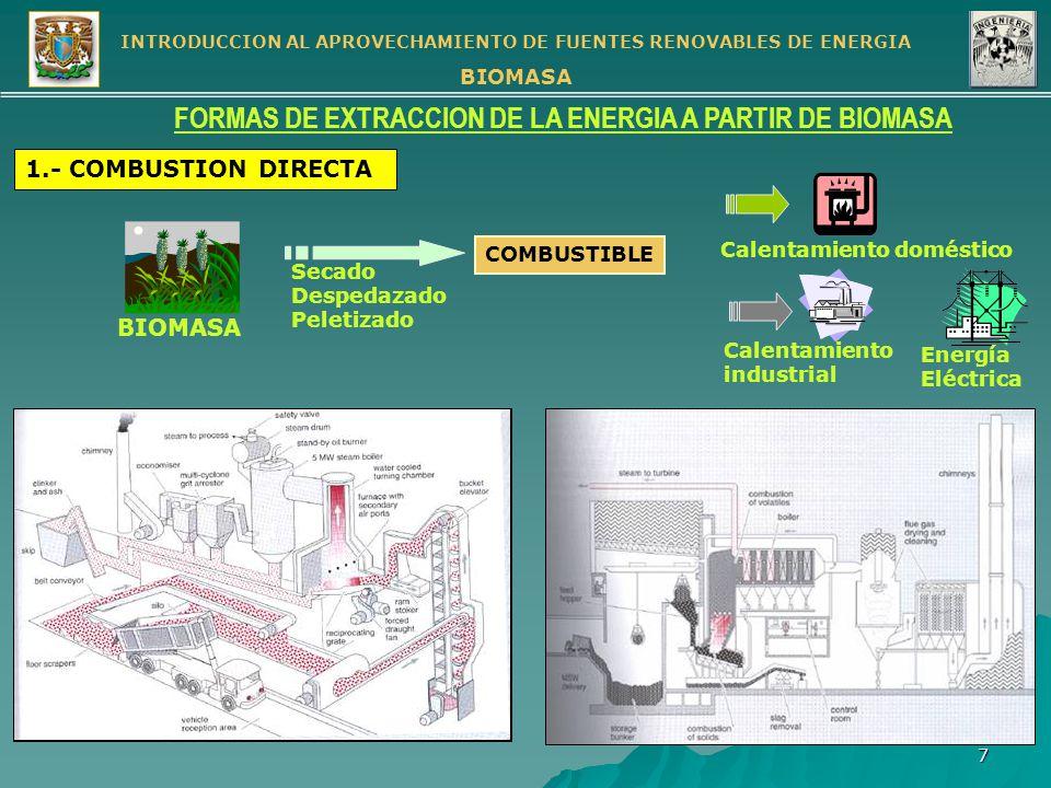INTRODUCCION AL APROVECHAMIENTO DE FUENTES RENOVABLES DE ENERGIA BIOMASA 8 FORMAS DE EXTRACCION DE LA ENERGIA A PARTIR DE BIOMASA (cont.) 2.- GASIFICACION CONSISTE EN HACER REACCIONAR UN COMBUSTIBLE SÓLIDO CON VAPOR DE AGUA Y AIRE u OXIGENO A ALTA TEMPERATURA Tratamiento inicial Planta de vapor Gasificador Separación de residuos Lavado de gas BIOMASA AGUA AIRE Gas de bajo poder calorífico PROCESO CON AIRE Tratamiento inicial Planta de vapor Gasificador Separación de residuos Lavado de gas BIOMASA AGUA AIRE Gas con poder calorífico medio PROCESO CON OXIGENO Planta de oxígeno Ajuste de relación C:H Síntesis Remoción de CO 2 Separación Gas de síntesis Combustible gaseoso Combustible líquido