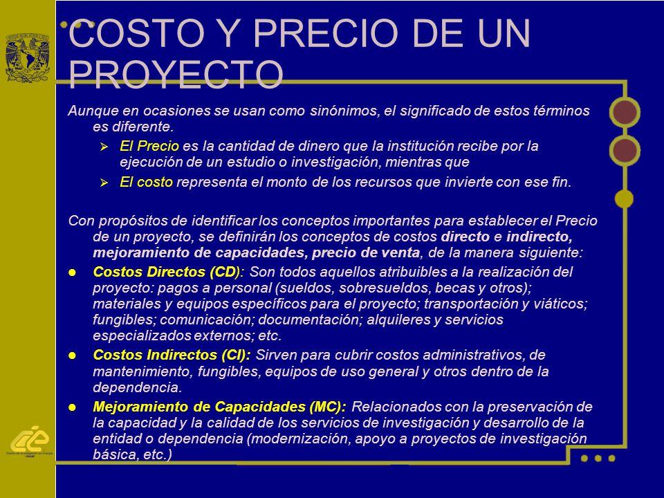 COSTO Y PRECIO DE UN PROYECTO Aunque en ocasiones se usan como sinónimos, el significado de estos términos es diferente.