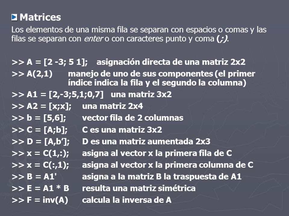 Matrices Los elementos de una misma fila se separan con espacios o comas y las filas se separan con enter o con caracteres punto y coma (;). >> A = [2