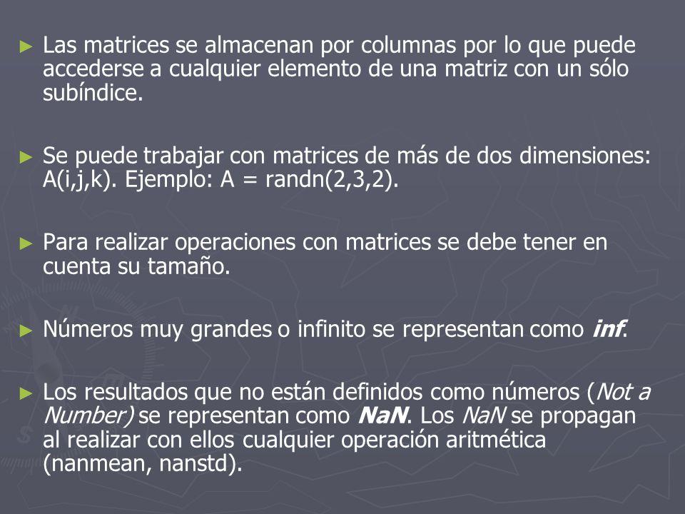 Las matrices se almacenan por columnas por lo que puede accederse a cualquier elemento de una matriz con un sólo subíndice. Se puede trabajar con matr