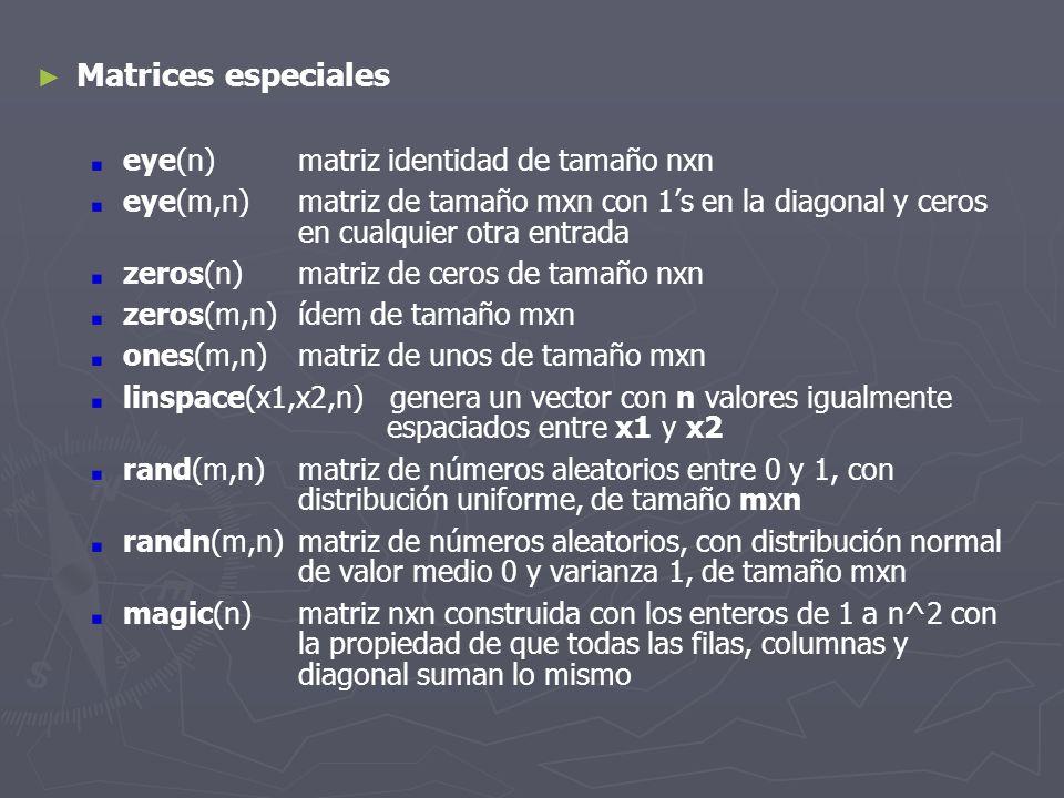 Matrices especiales eye(n)matriz identidad de tamaño nxn eye(m,n)matriz de tamaño mxn con 1s en la diagonal y ceros en cualquier otra entrada zeros(n)
