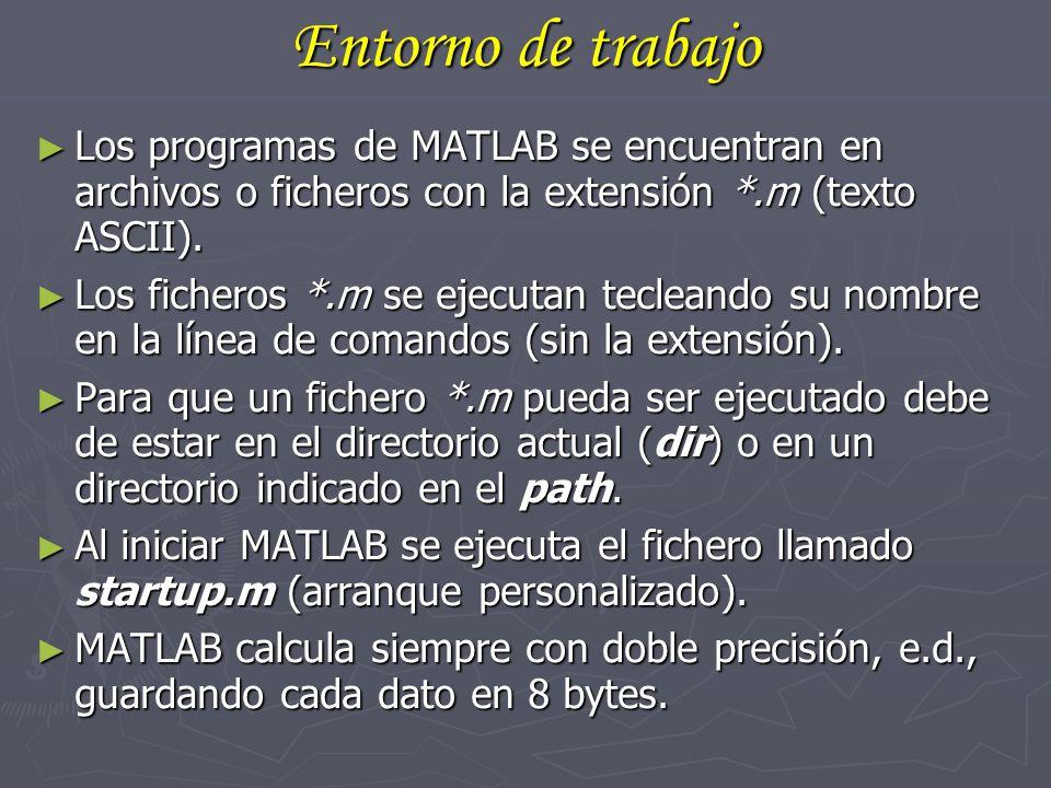 Entorno de trabajo Los programas de MATLAB se encuentran en archivos o ficheros con la extensión *.m (texto ASCII). Los programas de MATLAB se encuent