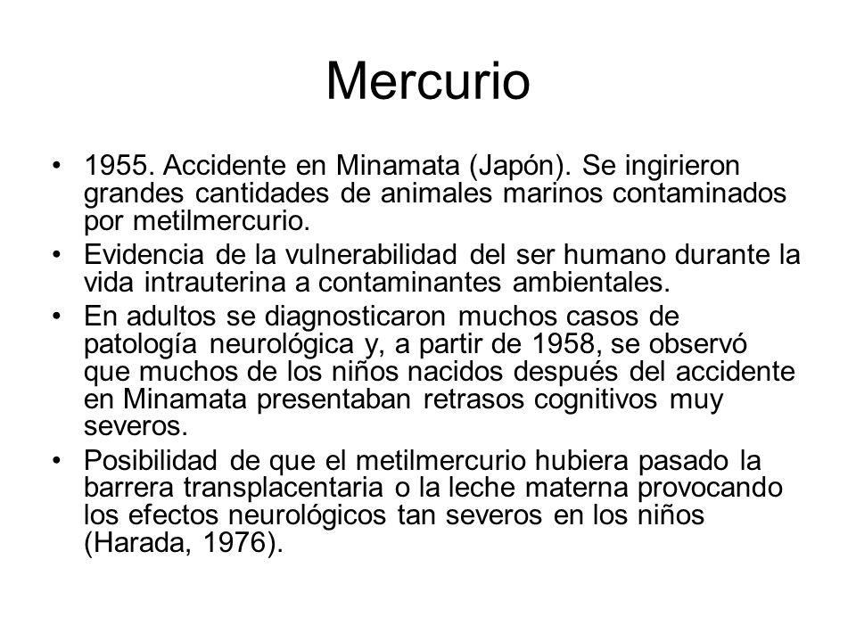 Mercurio 1955. Accidente en Minamata (Japón). Se ingirieron grandes cantidades de animales marinos contaminados por metilmercurio. Evidencia de la vul