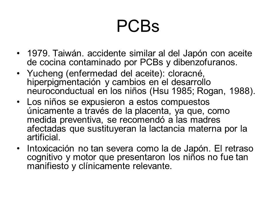PCBs 1979. Taiwán. accidente similar al del Japón con aceite de cocina contaminado por PCBs y dibenzofuranos. Yucheng (enfermedad del aceite): cloracn