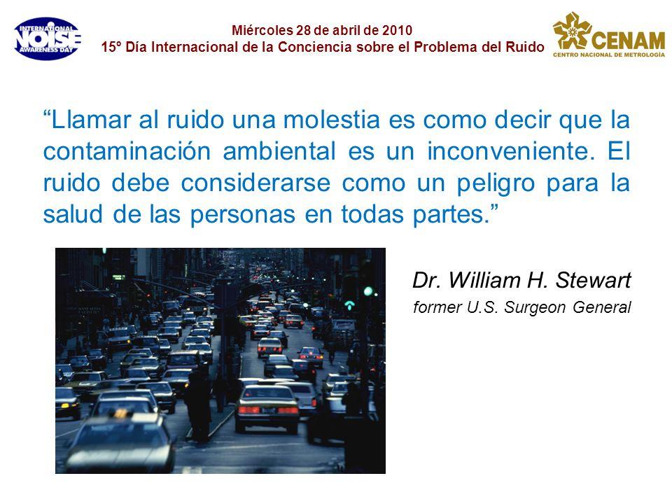 Miércoles 28 de abril de 2010 15º Día Internacional de la Conciencia sobre el Problema del Ruido Llamar al ruido una molestia es como decir que la con