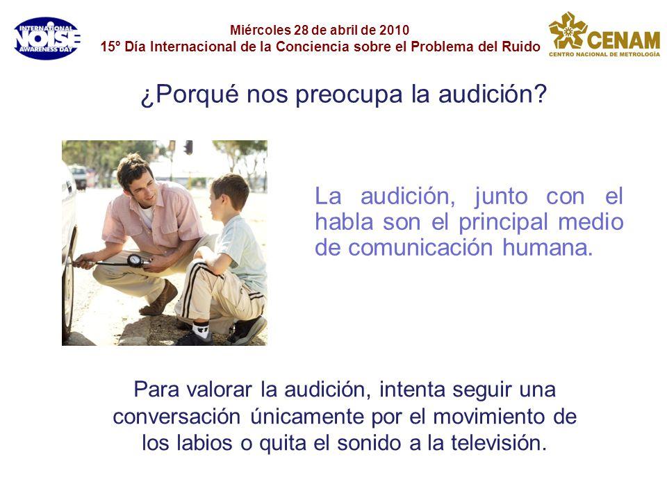 Miércoles 28 de abril de 2010 15º Día Internacional de la Conciencia sobre el Problema del Ruido La audición, junto con el habla son el principal medi