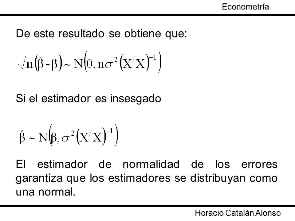 Taller de Econometría Horacio Catalán Alonso Econometría De este resultado se obtiene que: Si el estimador es insesgado El estimador de normalidad de