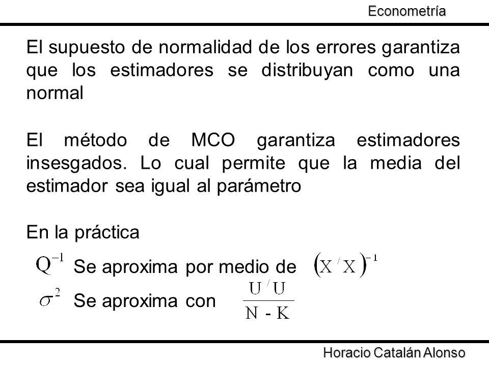 Taller de Econometría Horacio Catalán Alonso Econometría El supuesto de normalidad de los errores garantiza que los estimadores se distribuyan como un