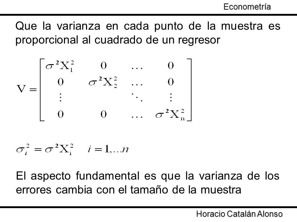 Taller de Econometría Horacio Catalán Alonso Econometría Que la varianza en cada punto de la muestra es proporcional al cuadrado de un regresor El asp