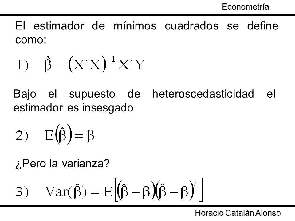Taller de Econometría Horacio Catalán Alonso Econometría El estimador de mínimos cuadrados se define como: Bajo el supuesto de heteroscedasticidad el