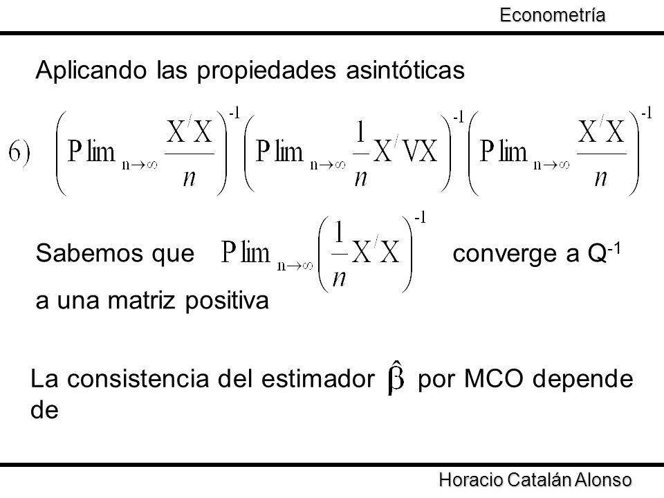Taller de Econometría Horacio Catalán Alonso Econometría Aplicando las propiedades asintóticas Sabemos que converge a Q -1 a una matriz positiva La co