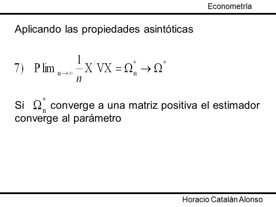 Taller de Econometría Horacio Catalán Alonso Econometría Aplicando las propiedades asintóticas Si converge a una matriz positiva el estimador converge
