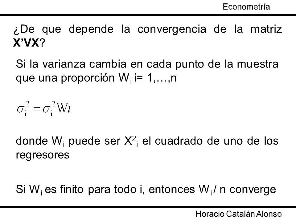Taller de Econometría Horacio Catalán Alonso Econometría Si la varianza cambia en cada punto de la muestra que una proporción W i i= 1,…,n ¿De que dep