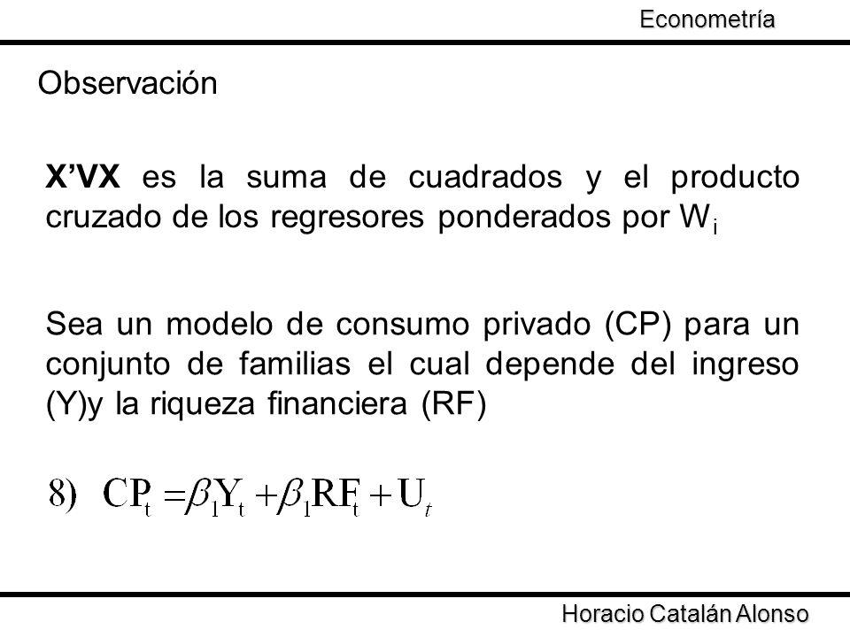 Taller de Econometría Horacio Catalán Alonso Econometría XVX es la suma de cuadrados y el producto cruzado de los regresores ponderados por W i Observ