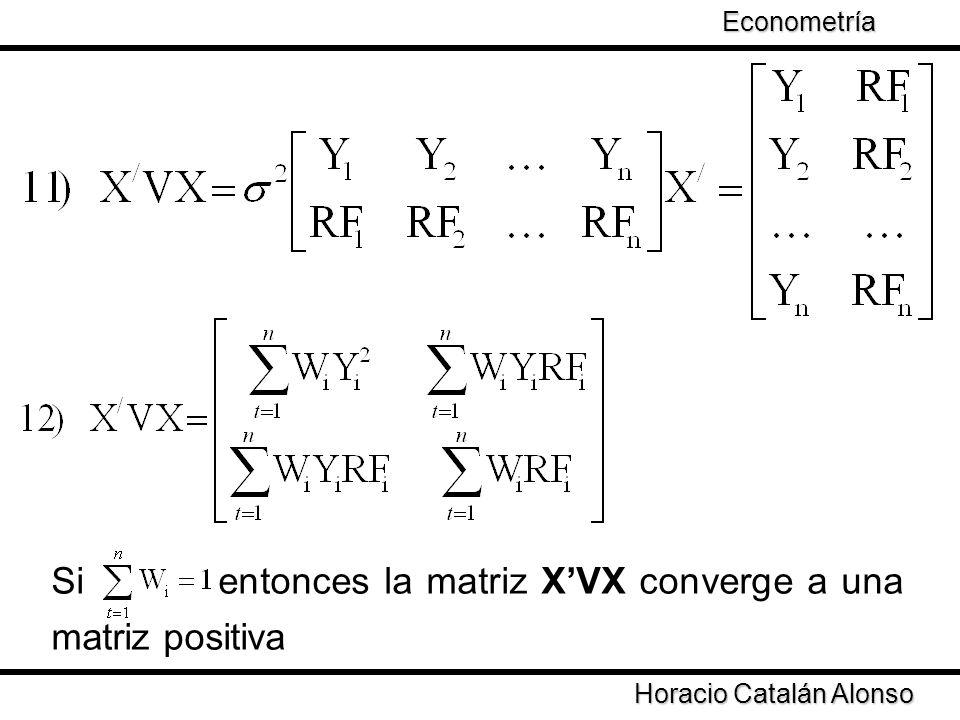 Taller de Econometría Horacio Catalán Alonso Econometría Si entonces la matriz XVX converge a una matriz positiva