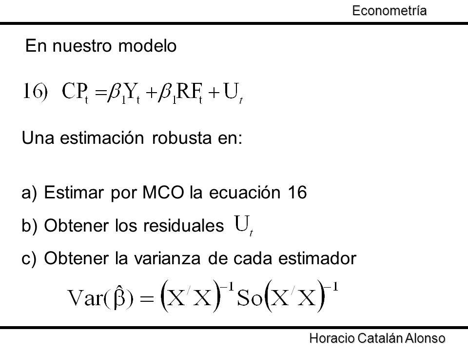 Taller de Econometría Horacio Catalán Alonso Econometría En nuestro modelo Una estimación robusta en: a) Estimar por MCO la ecuación 16 b) Obtener los