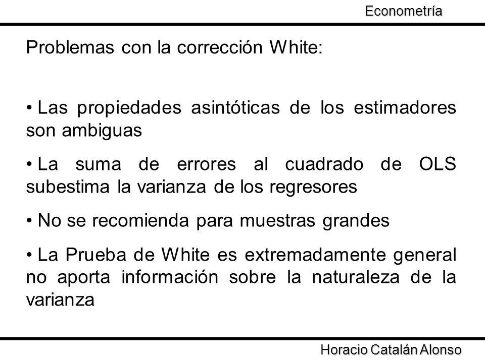 Taller de Econometría Horacio Catalán Alonso Econometría Problemas con la corrección White: Las propiedades asintóticas de los estimadores son ambigua