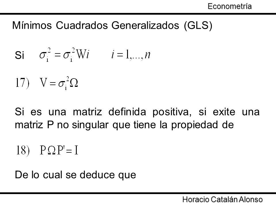 Taller de Econometría Horacio Catalán Alonso Econometría Si Mínimos Cuadrados Generalizados (GLS) Si es una matriz definida positiva, si exite una mat