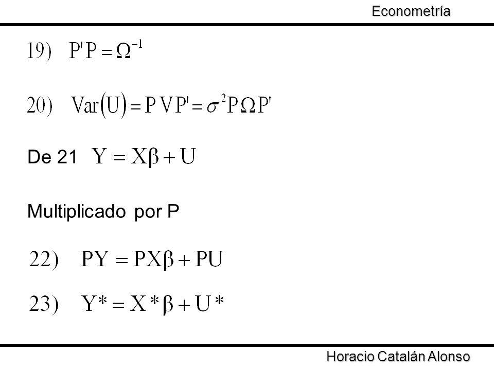 Taller de Econometría Horacio Catalán Alonso Econometría De 21 Multiplicado por P