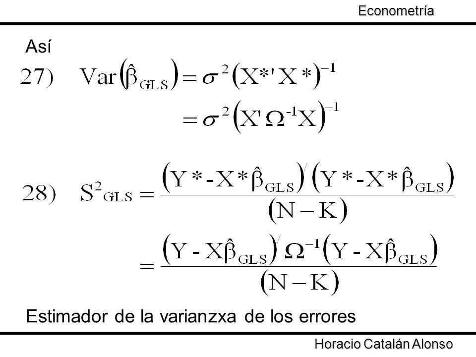 Taller de Econometría Horacio Catalán Alonso Econometría Así Estimador de la varianzxa de los errores