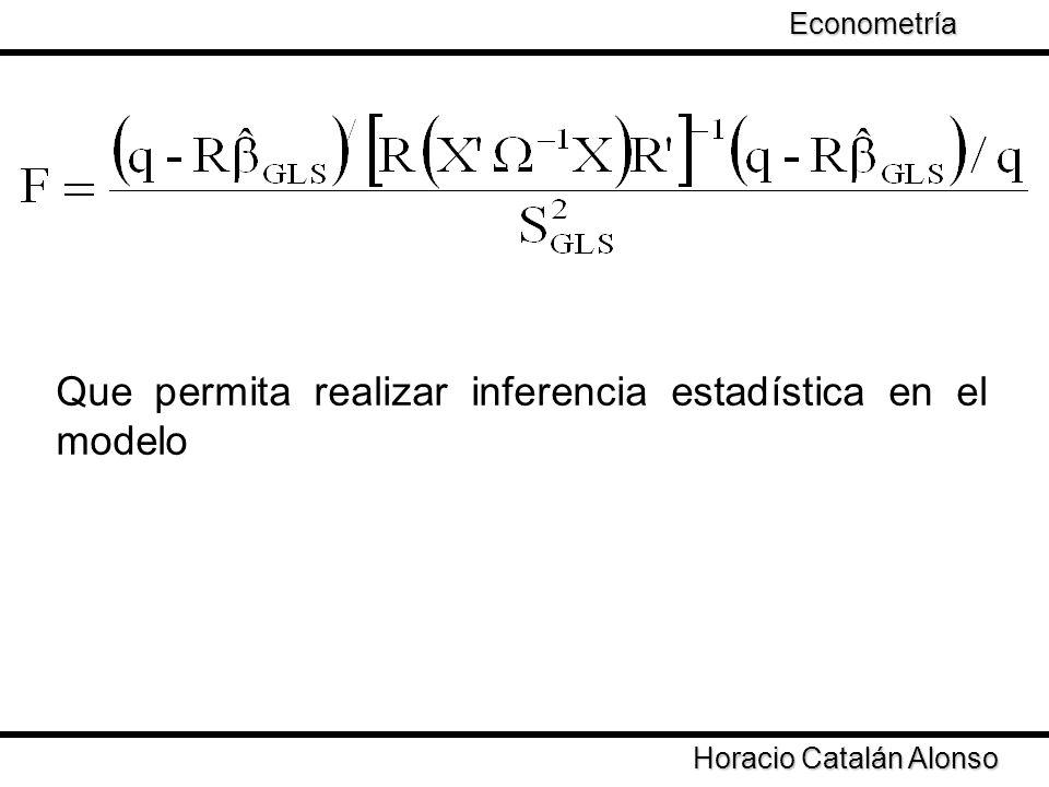 Taller de Econometría Horacio Catalán Alonso Econometría Que permita realizar inferencia estadística en el modelo