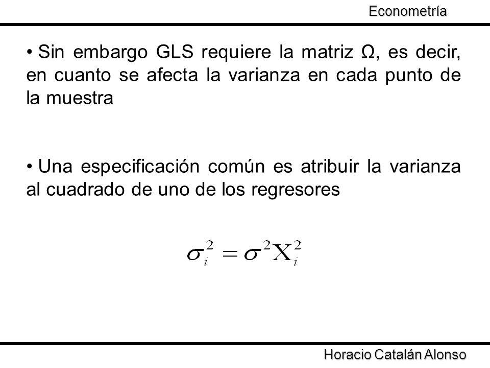 Taller de Econometría Horacio Catalán Alonso Econometría Sin embargo GLS requiere la matriz Ω, es decir, en cuanto se afecta la varianza en cada punto