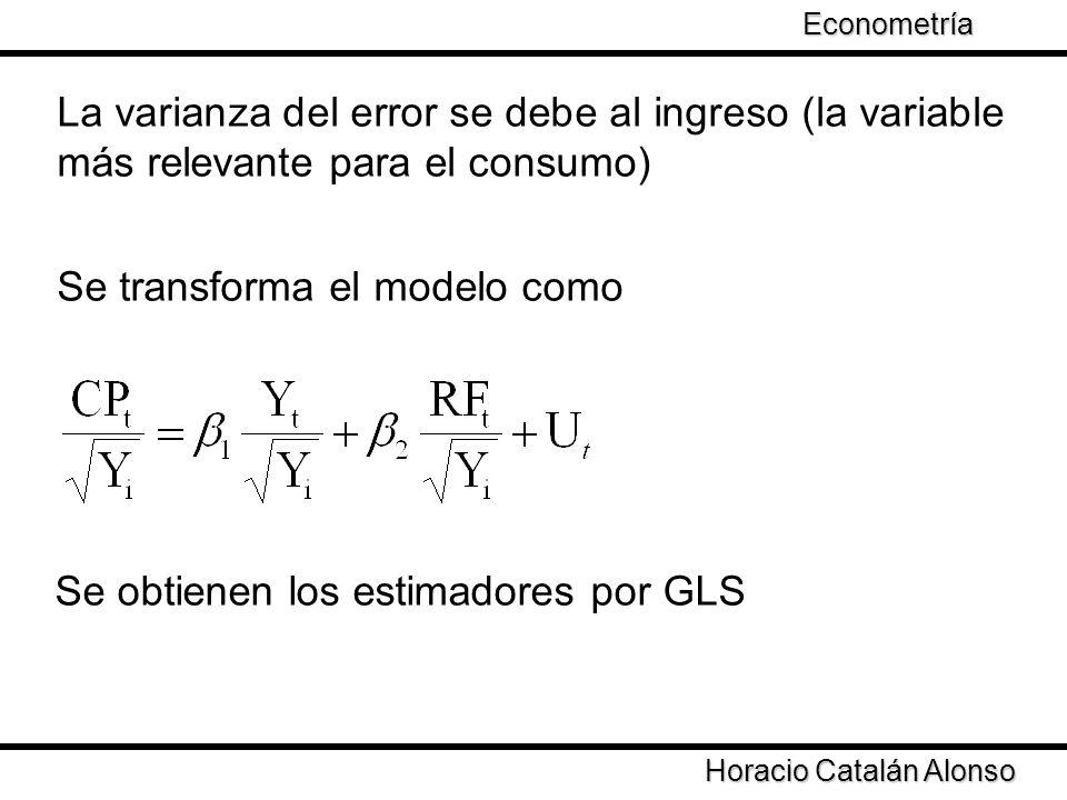 Taller de Econometría Horacio Catalán Alonso Econometría La varianza del error se debe al ingreso (la variable más relevante para el consumo) Se trans