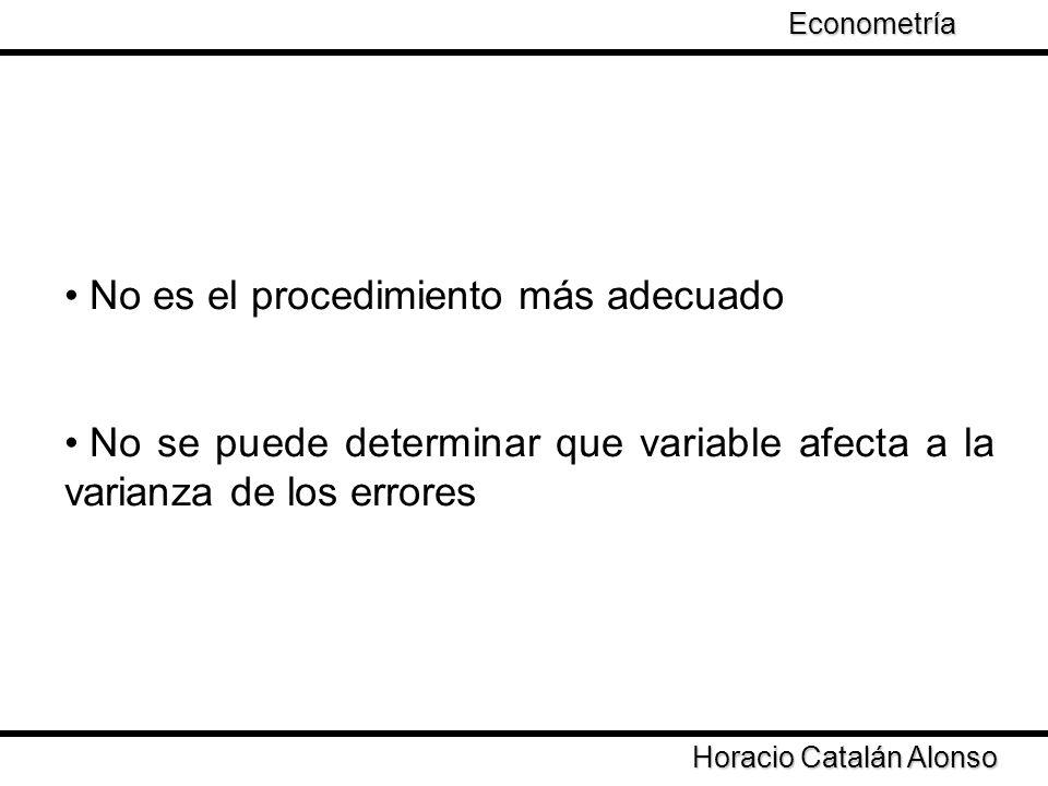Taller de Econometría Horacio Catalán Alonso Econometría No es el procedimiento más adecuado No se puede determinar que variable afecta a la varianza