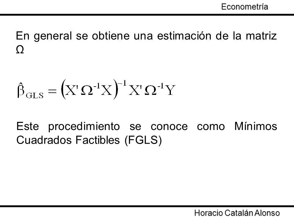 Taller de Econometría Horacio Catalán Alonso Econometría En general se obtiene una estimación de la matriz Ω Este procedimiento se conoce como Mínimos