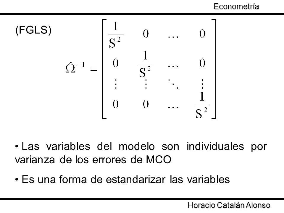 Taller de Econometría Horacio Catalán Alonso Econometría (FGLS) Las variables del modelo son individuales por varianza de los errores de MCO Es una fo