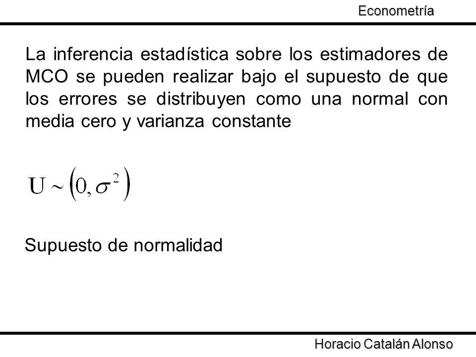 Taller de Econometría Horacio Catalán Alonso Econometría La inferencia estadística sobre los estimadores de MCO se pueden realizar bajo el supuesto de