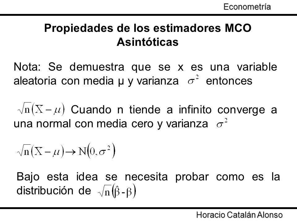 Taller de Econometría Horacio Catalán Alonso Econometría Propiedades de los estimadores MCO Asintóticas Nota: Se demuestra que se x es una variable al