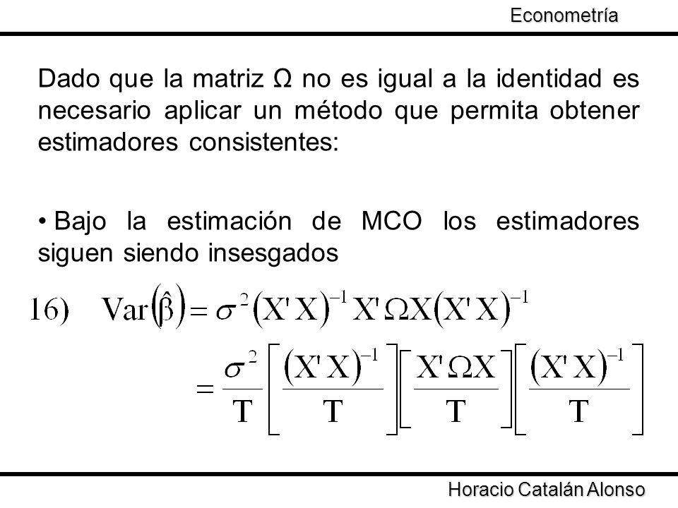 Taller de Econometría Horacio Catalán Alonso Econometría Dado que la matriz Ω no es igual a la identidad es necesario aplicar un método que permita ob