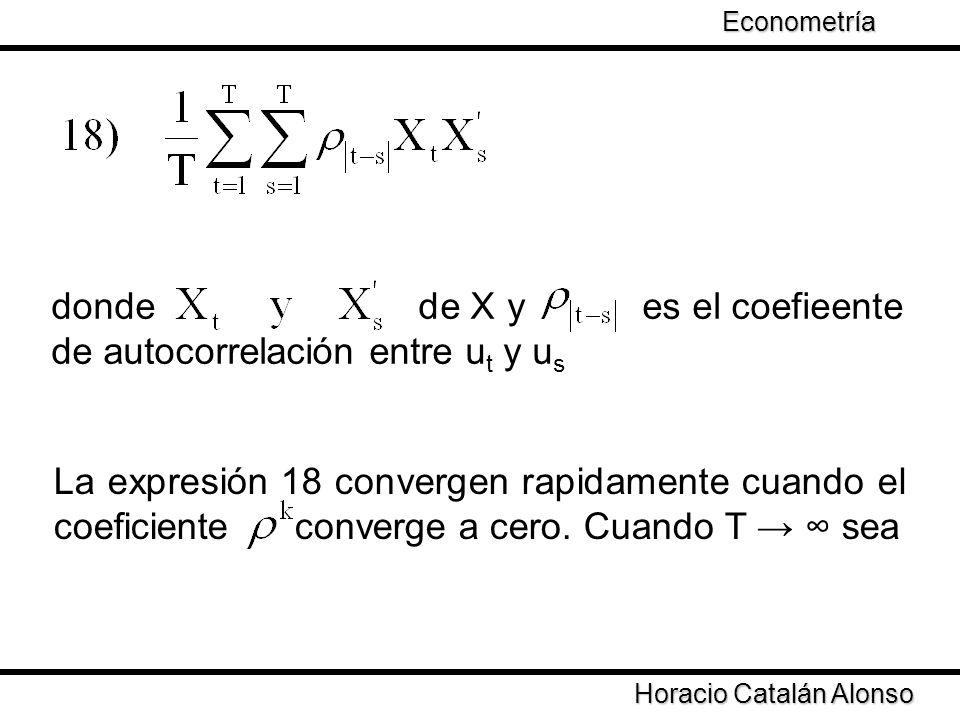 Taller de Econometría Horacio Catalán Alonso Econometría donde de X y es el coefieente de autocorrelación entre u t y u s La expresión 18 convergen ra