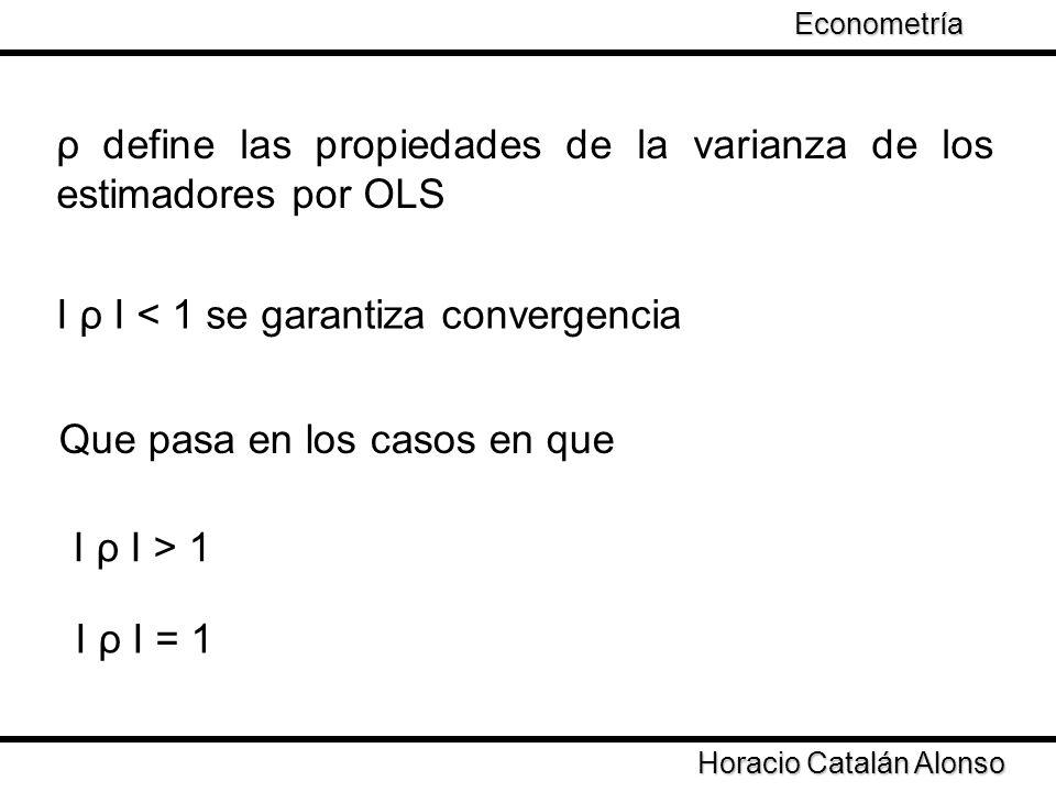 Taller de Econometría Horacio Catalán Alonso Econometría ρ define las propiedades de la varianza de los estimadores por OLS І ρ І < 1 se garantiza con