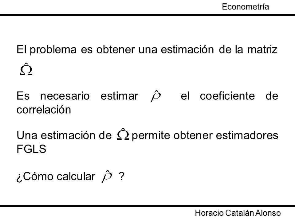 Taller de Econometría Horacio Catalán Alonso Econometría El problema es obtener una estimación de la matriz Es necesario estimar el coeficiente de cor