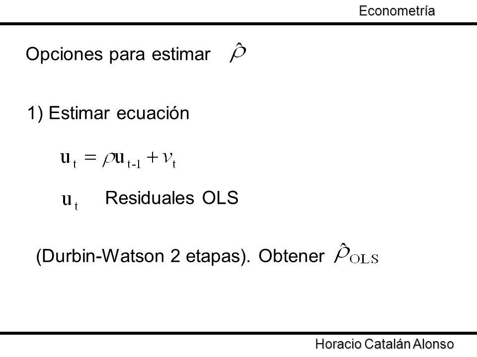 Taller de Econometría Horacio Catalán Alonso Econometría Opciones para estimar 1) Estimar ecuación Residuales OLS (Durbin-Watson 2 etapas). Obtener
