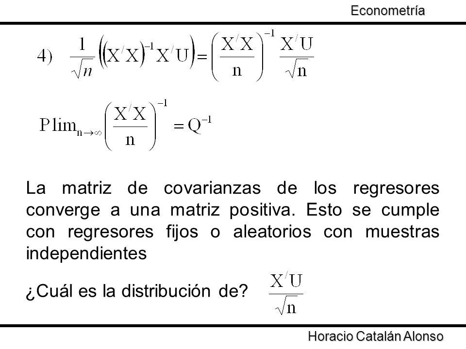 Taller de Econometría Horacio Catalán Alonso Econometría La matriz de covarianzas de los regresores converge a una matriz positiva. Esto se cumple con