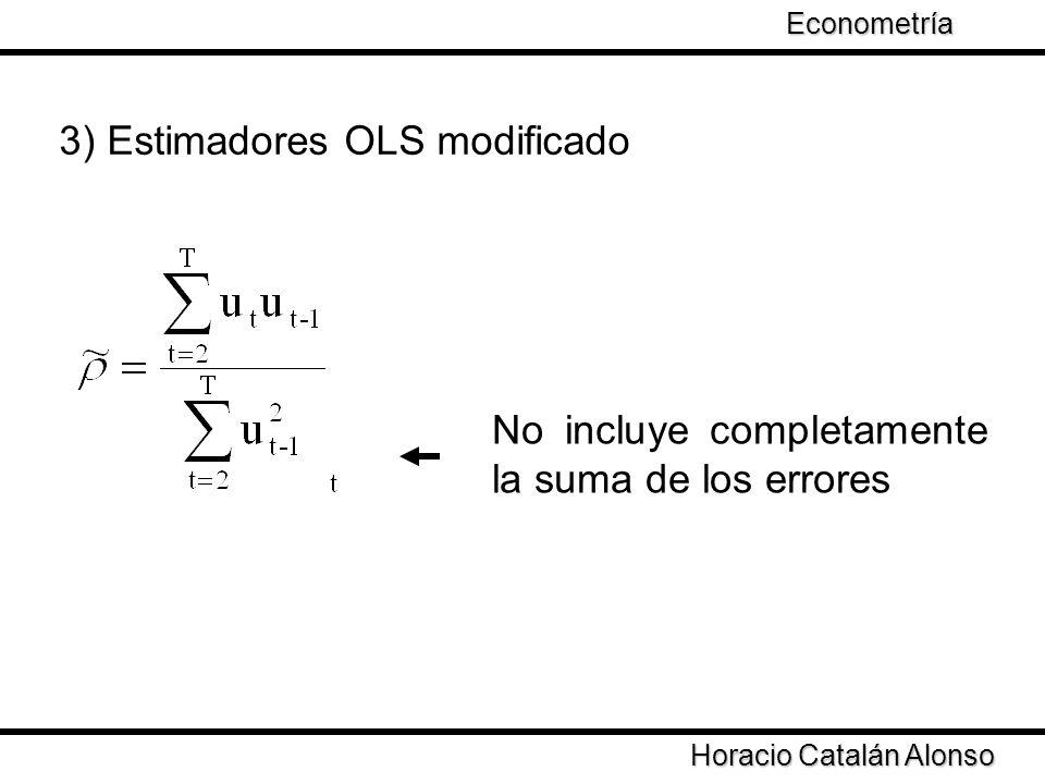 Taller de Econometría Horacio Catalán Alonso Econometría No incluye completamente la suma de los errores 3) Estimadores OLS modificado