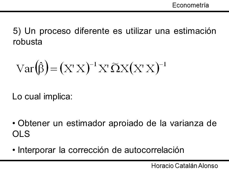 Taller de Econometría Horacio Catalán Alonso Econometría 5) Un proceso diferente es utilizar una estimación robusta Lo cual implica: Obtener un estima