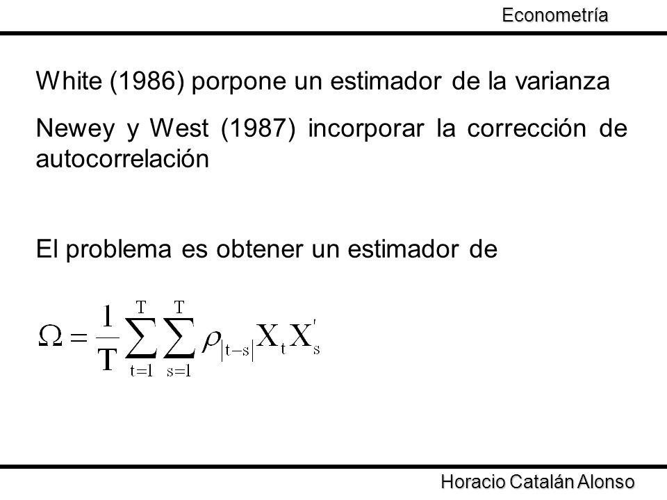 Taller de Econometría Horacio Catalán Alonso Econometría White (1986) porpone un estimador de la varianza Newey y West (1987) incorporar la corrección