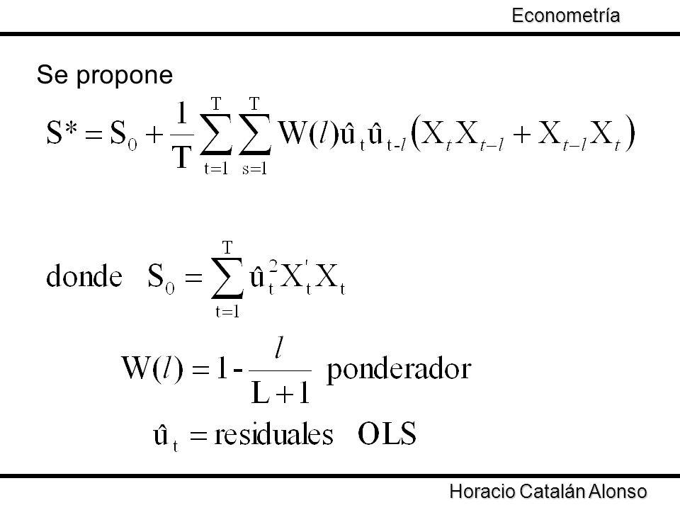 Taller de Econometría Horacio Catalán Alonso Econometría Se propone