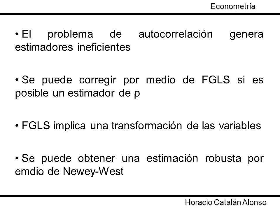 Taller de Econometría Horacio Catalán Alonso Econometría El problema de autocorrelación genera estimadores ineficientes Se puede corregir por medio de