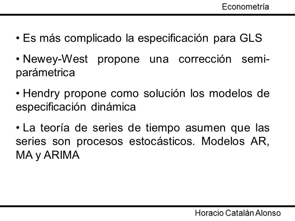 Taller de Econometría Horacio Catalán Alonso Econometría Es más complicado la especificación para GLS Newey-West propone una corrección semi- parámetr
