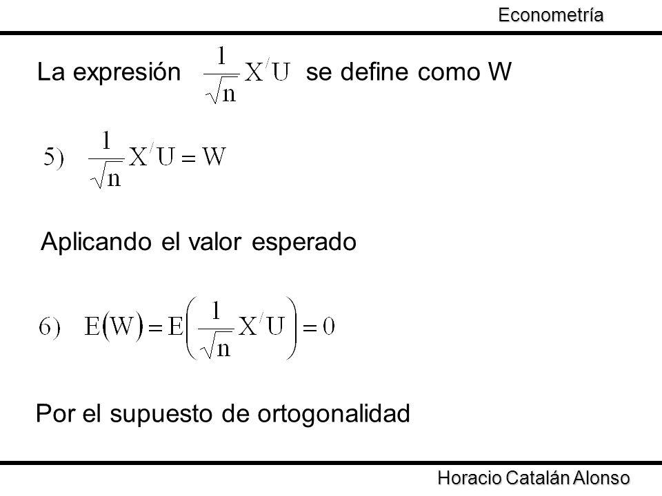Taller de Econometría Horacio Catalán Alonso Econometría La expresión se define como W Por el supuesto de ortogonalidad Aplicando el valor esperado