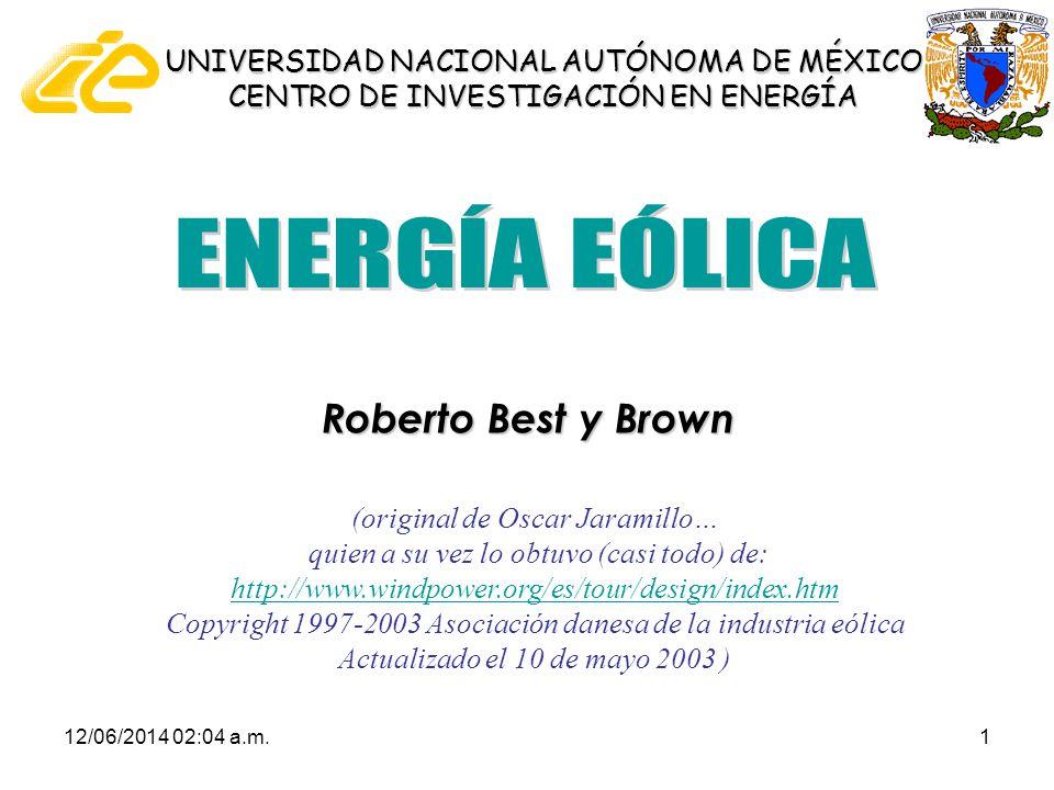 12/06/2014 02:06 a.m.12 La potencia del viento: cubo de la velocidad del viento Potencia = Energía / tiempo Densidad de potencia eólica